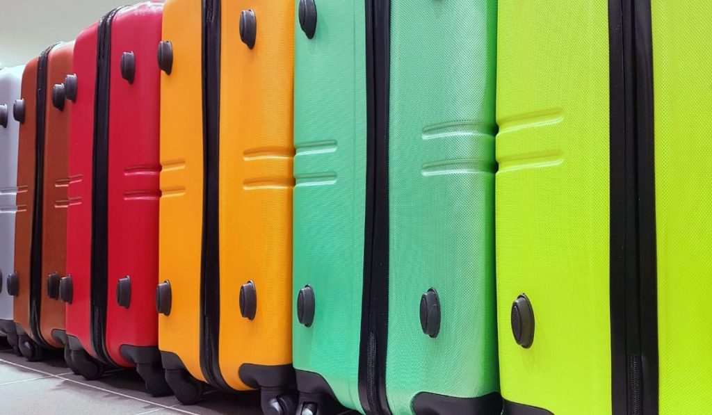 different colors of luggages
