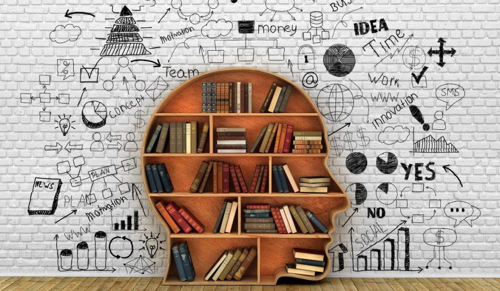 bookshelf shaped like a man's head