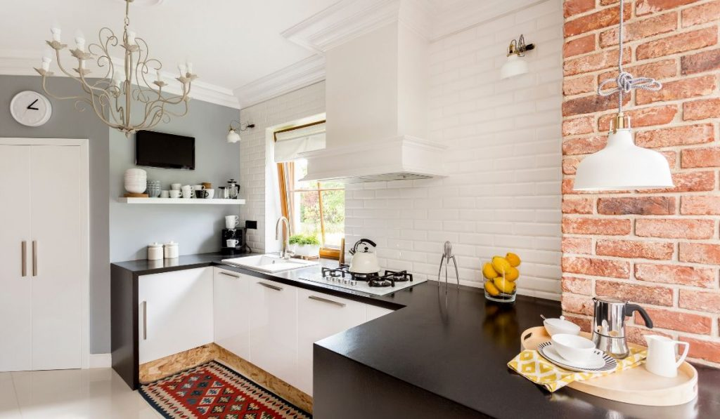 white and black small kitchen